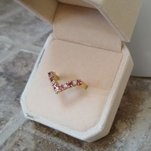 Solid 14K Gold Genuine Diamond Ruby Chevron Ring